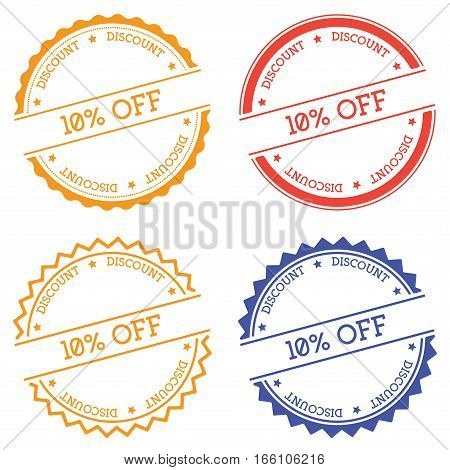 10% Off Discount Badge Isolated On White Background. Flat Style Round Label With Text. Circular Embl