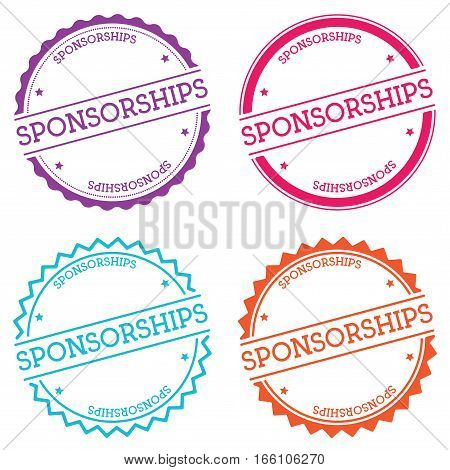Sponsorships Badge Isolated On White Background. Flat Style Round Label With Text. Circular Emblem V