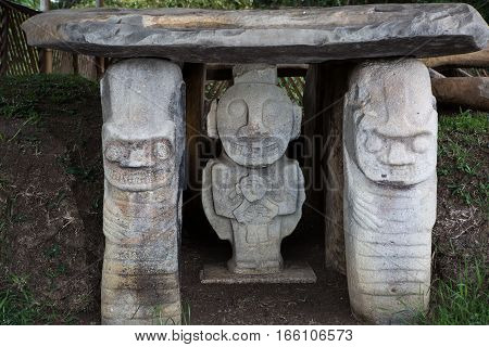 ancient pre-columbian tomb statues in San Agustin Colombia