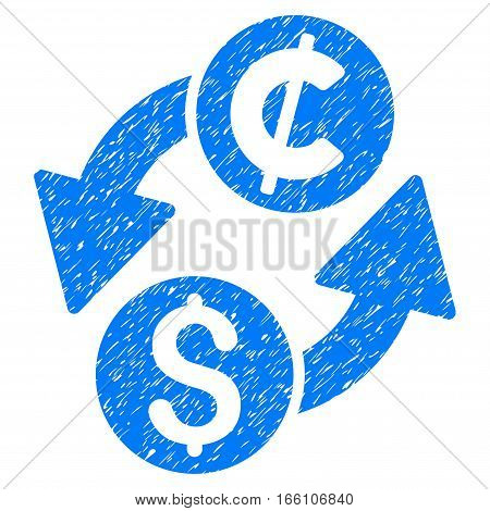 Dollar Cent Exchange grainy textured icon for overlay watermark stamps. Flat symbol with dirty texture. Dotted vector blue ink rubber seal stamp with grunge design on a white background.