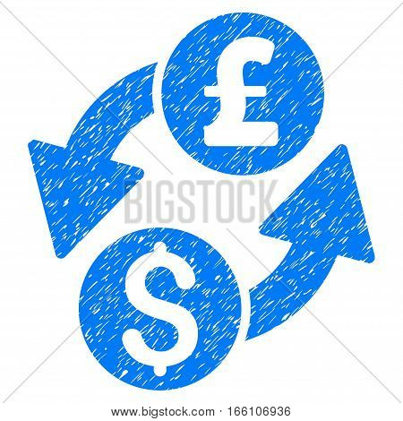 Dollar Pound Exchange grainy textured icon for overlay watermark stamps. Flat symbol with scratched texture. Dotted vector blue ink rubber seal stamp with grunge design on a white background.