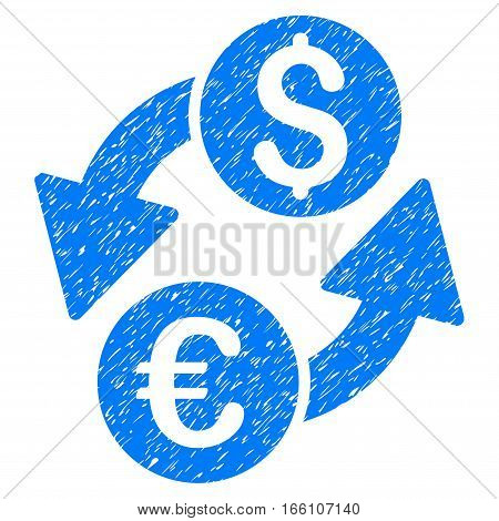 Euro Dollar Exchange grainy textured icon for overlay watermark stamps. Flat symbol with unclean texture. Dotted vector blue ink rubber seal stamp with grunge design on a white background.