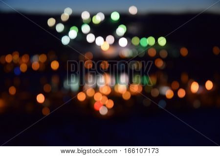 a photo of blurred lights of town