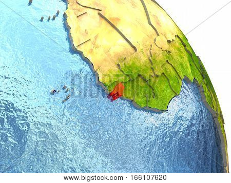 Guinea-bissau On Earth In Red