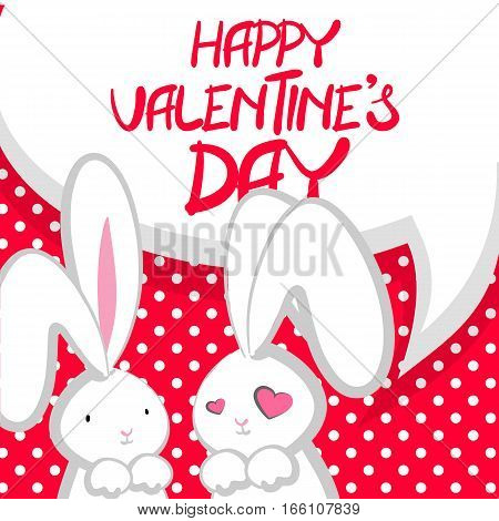 Vector festive hand drawn illustration. Comic bubble Two rabbits fall in love white cute rabbit with big ears pink nose, congratulates Happy Valentines Day. Pink halftone background.