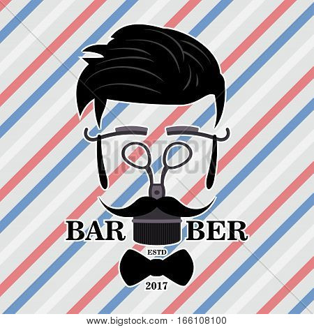 Barber Shop Hipster Silhouette Logo. Hairstyle Man with Mustache and Beard.