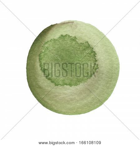 Kale and dark green round watercolor brush stroke isolated on white background. Watercolour stains texture. Olive drab color circle shape. Round background. Hand drawn texture. Rough artistic edges. Space for your own text.