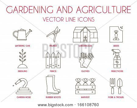 Gardening and agriculture, vector thin line icon set: watering can, pruner, greenhouse, vegetable seeds, seedling, fence, gloves, insecticide spray, garden hose, harvest, fork, trowel, rubber boots.