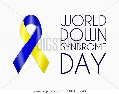 Blue and yellow ribbon, World Down Syndrome Day symbol, sign of support for people with mental disorder and intellectual disability. Charity concept. Vector illustration for website, banner, flyer.