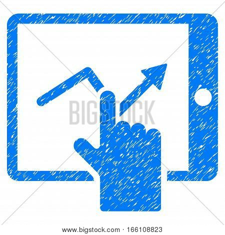 Tap Trend On PDA grainy textured icon for overlay watermark stamps. Flat symbol with dust texture. Dotted vector blue ink rubber seal stamp with grunge design on a white background.