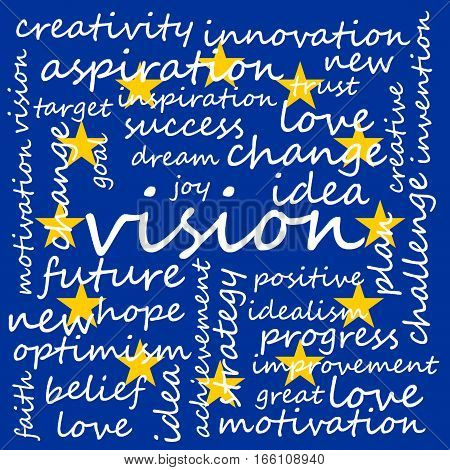 Conceptual Illustration of Tag Cloud With Words Related To Vision Creativity And Optimism EU Flag Background