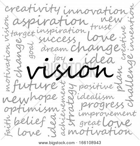 Conceptual Illustration of Tag Cloud With Words Related To Vision Creativity And Optimism