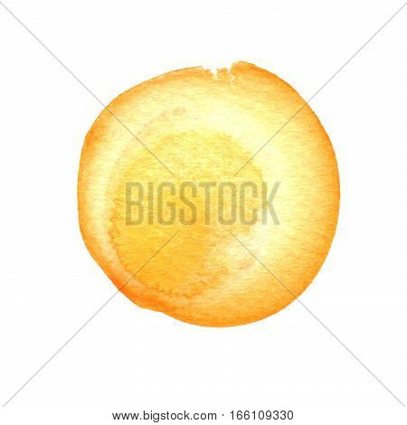 Primrose yellow, orange circle shape with space for text. Watercolor golden yellow round background with uneven edges. Watercolour stains abstract texture.