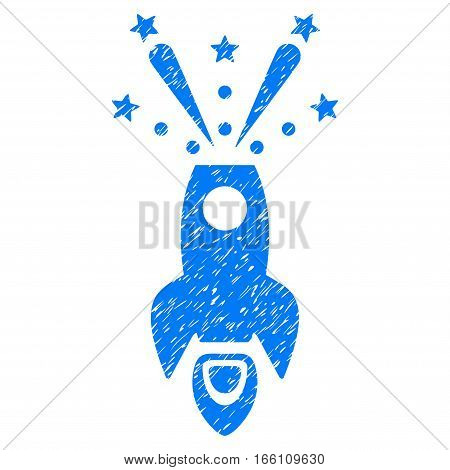 Space Rocket Boom grainy textured icon for overlay watermark stamps. Flat symbol with unclean texture. Dotted vector blue ink rubber seal stamp with grunge design on a white background.