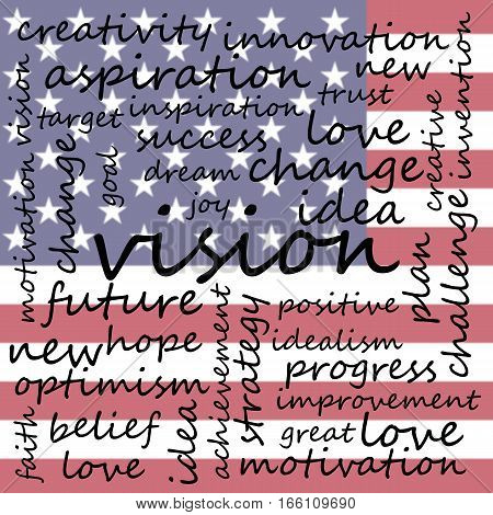 Conceptual Illustration of Tag Cloud With Words Related To Vision Creativity And Optimism US Flag Background