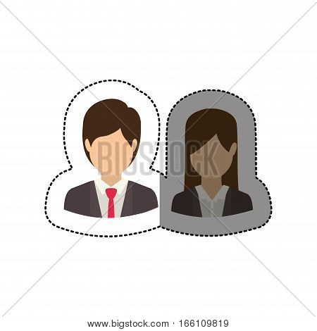 Businesspeople icon. Teamwork people corporate and workforce theme. Isolated design. Vector illustration