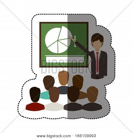 Businesspeople and presentation icon. Teamwork people corporate and workforce theme. Isolated design. Vector illustration