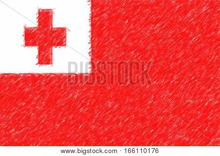 Flag Of Tonga Background O Texture, Color Pencil Effect.