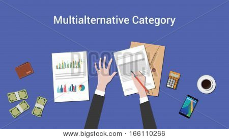 working on multialternative category concept with paperwork on top of table illustration vector