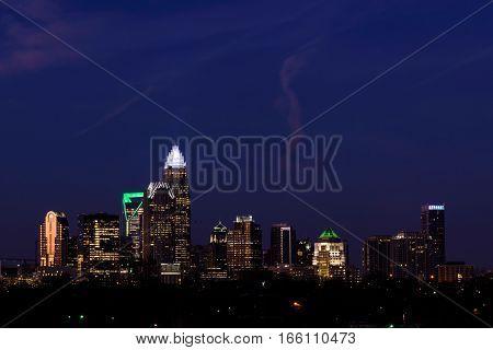 The panoramic scene of the Charlotte, North Carolina skyline at the civil start of light