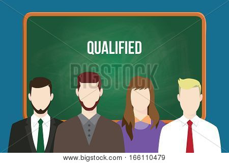 qualified candidates illustration vector with white text on green board vector
