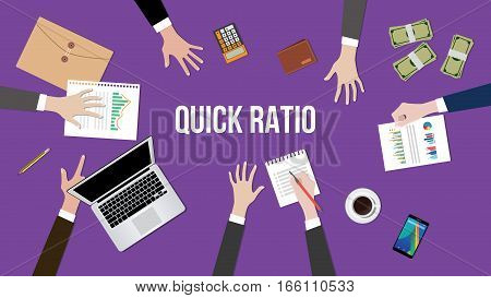 quick ratio illustration vector with people discuss about the concept on a table vector