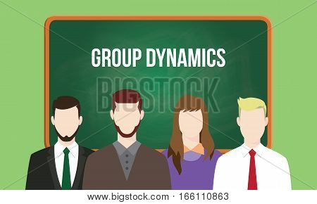 group dynamics concept in a team illustration with text written on chalkboard vector