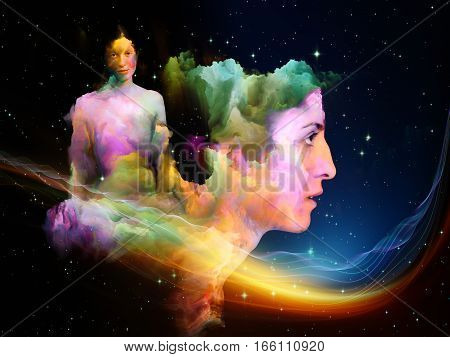 Color Girl series. Surreal female image fused with clumps of fractal paint on the subject of dream imagination and inner life.