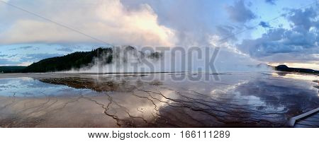 Yellowstone. Grand Prismatic Spring at sunset. Midway Geyser Basin. Yellowstone National Park. Jackson Hole. Wyoming. United States.