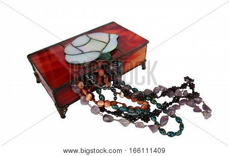 Jewelry and stained glass box on the white background