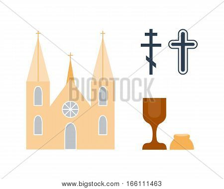 Christianity religion flat icons vector. Illustration of traditional holy architecture silhouette. Place for praying people character design and faith priest church architecture