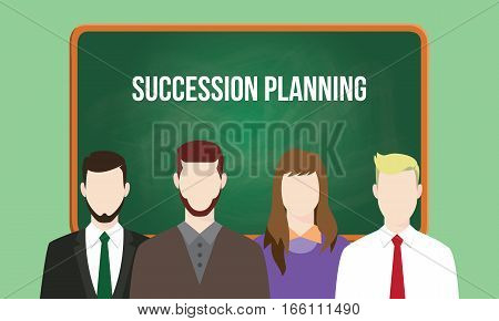 succession planning concept in a team illustration with text written on chalkboard vector