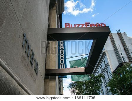 New York, June 22, 2016: The BuzzFeed sign at the company headquarters.