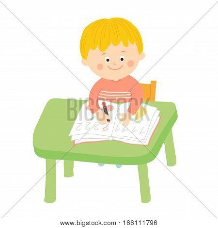 Cute child writing at desk in classroom at the elementary school. Cartoon vector hand drawn eps 10 illustration isolated on white background in flat style.