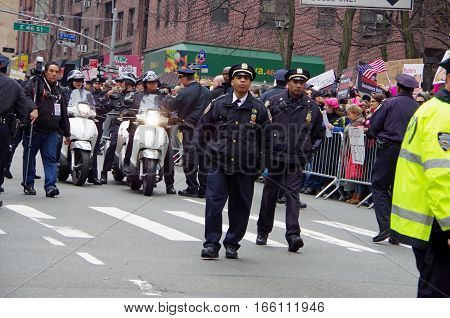 New York, New York- January Twenty First: NYPD on scene for womens march protest in New York City. January 21st 2017, Manhattan, New York.
