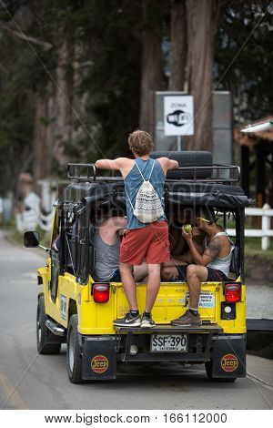 September 20 2016 Salento Colombia: old models of all terrain vehicles are used to transport tourists between the town of Salento and the Cocora valley. The safety regulations travelling with these vehicles are pretty loose.
