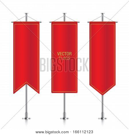 Red elegant vertical flag mockups, isolated on a white background. Set of vector banner flag templates hanging on a silver metallic poles.