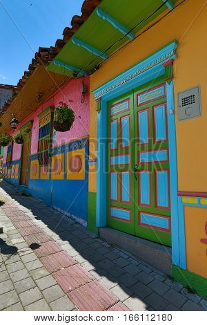 November 13, 2016, Guatape, Colombia: the small colonial town is known for its brightly coloured architectural style