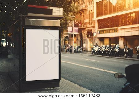 City bus stop with empty mock up banner for your advertising blank billboard with copy space area for your text message or promotional content public information board next to road