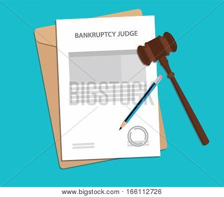 bankruptcy jduge concept illustration with paperworks, pen and envelope vector