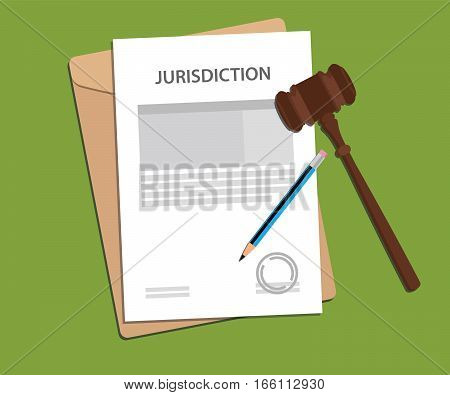 jurisdiction concept illustration with paper work signing signed with gavel and folder document vector