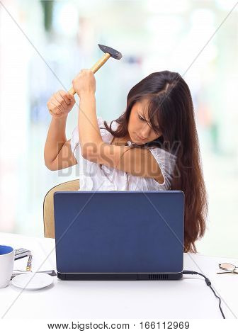 The beautiful business woman with the computer