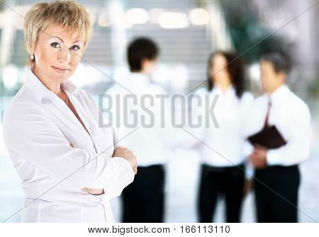 Portrait of a business woman on a good working day. photo has a empty space for your text