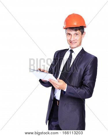 successful architect with the tablet on a white background