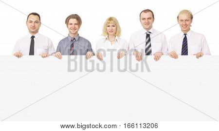 successful business team holding a large blank banner