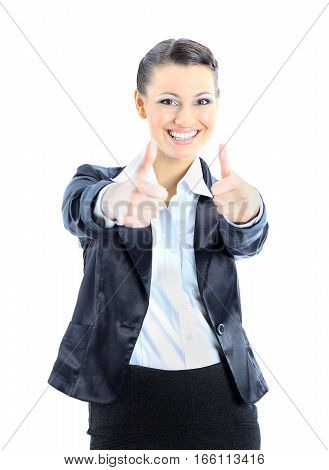 successful business woman with arms stretched forward and thumbs up
