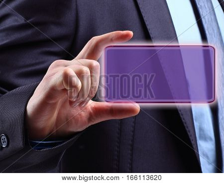 hand of businessman holds the transparent blank for your text