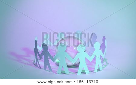 Paper people standing in a circle around glass globe.photo has a empty space for your text