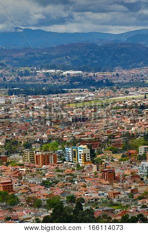 the city of Cuenca Ecuador seen from above is known being a major expat destination
