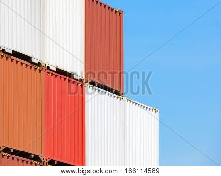 Multicolor of Cargo container stack at container yerd area